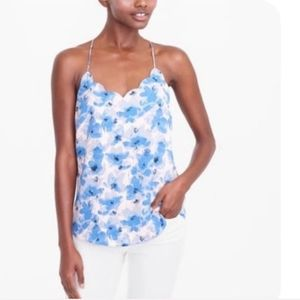 J Crew Blue Floral Scalloped Cami